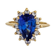 Vintage 1980 1.60ct Pear Shaped Tanzanite Diamond 14k Yellow Gold Ring