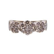 Estate Designer Triple Diamond Cluster Ring 1.05ct 14k White Gold