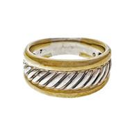 Estate David Yurman Silver 18k Yellow Gold 9.5mm Cable Ring Thoroughbred