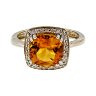 Estate 2.25ct Cushion Cut Citrine 14k White Gold Halo Diamond Ring