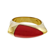 Retired Asch Grossbardt Coral 18k Yellow Gold Ring