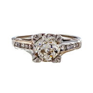 Antique Art Deco Old European Cut 1.01ct GIA Natural Light Brown Diamond Ring