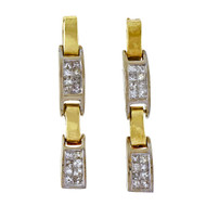 Vintage 1960 14k Yellow Gold 1.20ct Princess Cut Diamond Dangle Earrings