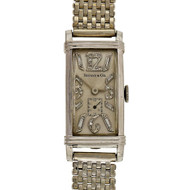 1935 Tiffany Platinum Art Deco Longines Watch Diamond 14k White Gold Mesh Band