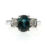 Vintage 3.41ct No Heat Rare Green Blue Sapphire Mk .65ct Diamond Platinum Ring