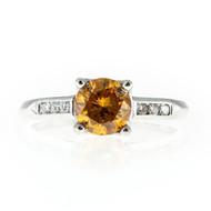Vintage Rare Round 1.06ct Vivid Yellow Orange & Full Cut Diamond Platinum Ring