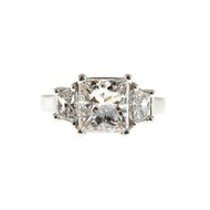 Engagement 3.01ct Princess Radiant Diamond Ring .85ct Trapezoid GIA Certified