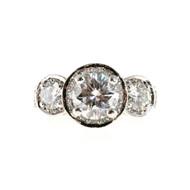 Vintage Estate Gregg Ruth Platinum Round Pave Set Full Cut Diamond Ring 1.65ct.