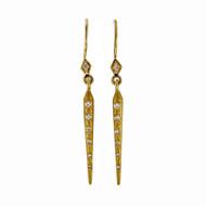 Designer Artist Style Textured Diamond Cylinder Dangle Earrings