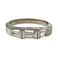 Cultured Estate Two Row Platinum Baguette .45ct Band Ring