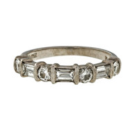 Estate Sasha Primak 4 Round 3 Baguette Diamond Platinum Wedding Band Ring .53ct