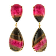 Peter Suchy Pink Green Cabochon Tourmaline 18k Yellow Gold Dangle Earrings