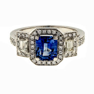 Estate 1.53ct Emerald Cut Sapphire Platinum Suchy Triple Halo Engagement Ring