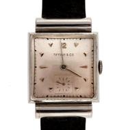 Men's Strap Watch 1953 Tiffany & Co Movado Platinum Rare Hooded Lug