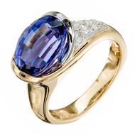Estate Richard Krementz 4.26ct Gem Tanzanite 18k Platinum Diamond Ring