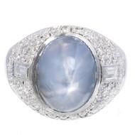 Antique Art Deco 5.00ct Violet Blue Star Sapphire Platinum Diamond Ring