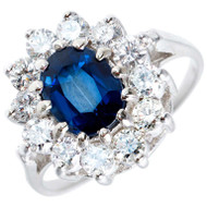 Vintage 1.63ct Cornflower Blue Natural No Heat 14k White Gold Diamond Ring