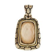 Asch Grossbardt Mother Of Pearl Quartz Silver 18k Pendant