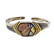 Asch Grossbardt Silver 18k Bangle Bracelet Quartz Top Mother Of Pearl Inlaid