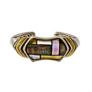 Asch Grossbardt Inlaid Mother Of Pearl 18k Bangle Bracelet Quartz Top
