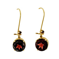 Estate 11.50c Red Garnet 14k Pink Gold Dangle Earrings