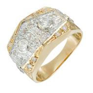 Vintage 1960 Men's Ladies Yellow White Gold Diamond Ring .70ct