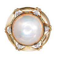 Vintage 1970 15mm Mobe Pearl Diamond 14k Gold Ring