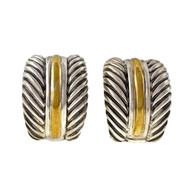 David Yurman Domed Cable Silver 18k Clip Post Earrings