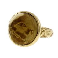 Estate Heavy 14k Gold Bezel Set 12.71ct Cabochon Set Smoky Quartz Ring Signed