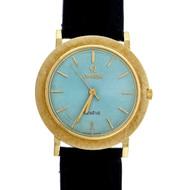 1950 18k Omega Wrist Watch Custom Colored Ice Blue Dial