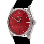 1959 Rolex 6565 Steel Wrist Watch Custom Colored Red Dial