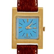 1950's  Jules Jurgensen 18k Gold Tank Strap Watch Custom Colored Turquoise Dial