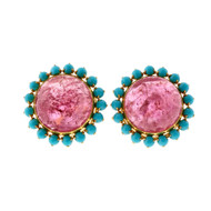 1950 Pink Tourmaline Persian Turquoise 14k Yellow Gold Earrings