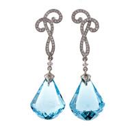 Cordova Blue Topaz 18k White Gold Diamond Dangle Earrings