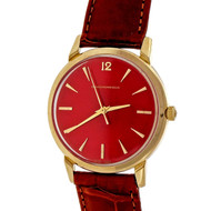 1960 Girard Perregaux Automatic 14k Strap Wrist Watch Custom Colored Red Dial
