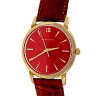 1960 Girard Perregaux Automatic 14k Strap Wrist Watch Custom Colored Red Dial