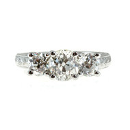 Peter Suchy 3 Stone Diamond Platinum Engagement Ring