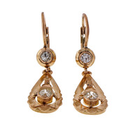 1920 Pink Gold Rose Gold .54ct Old European Cut Dangle Earrings