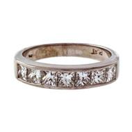 Estate EWA Platinum 1.40ct Channel Set Diamond Wedding Band Ring