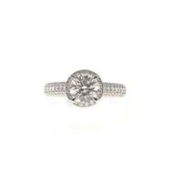 Engagement Vintage Halo Diamond Ring 1.22ct Platinum Peter Suchy Ideal Cut