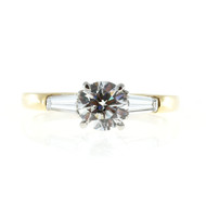 Vintage .90ct Ideal GIA Round Diamond Tapered Baguette 18k Gold Platinum Ring