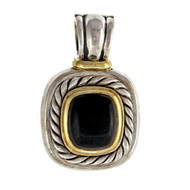 David Yurman Silver & 14k Black Onyx Albion Enhancer Pendant