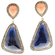 Designer JMP Peach Moonstone 12.00ct Sapphire 18k Yellow Gold Dangle Earrings