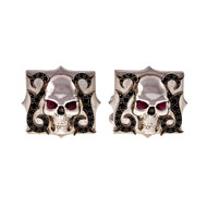 Stephen Webster 18k White Gold Skull & Blue Ruby Sapphire Cuff Links