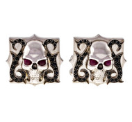 Stephen Webster 18k White Gold Skull & Blue Ruby Sapphire Cuff Links