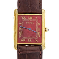 Cartier Vermeil Tank Quartz Watch Custom Colored Shiny Red Dial