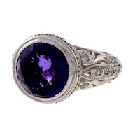 ADI Designer 18k White Gold 4.50ct Amethyst Diamond Ring