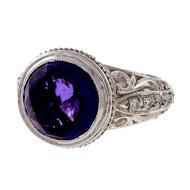 ADI Designer 18k White Gold 4.50ct Amethyst Diamond Ring