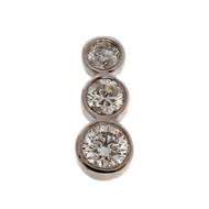 Estate Triple Bezel Diamond 14k White Gold Pendant .70ct