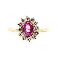 Vintage 1960 .75ct Oval Natural No Heat Pink Sapphire Diamond Cluster Ring 18k Yellow Gold